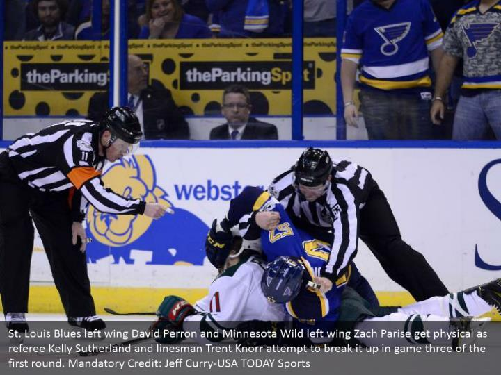 St. Louis Blues left wing David Perron and Minnesota Wild left wing Zach Parise get physical as referee Kelly Sutherland and linesman Trent Knorr attempt to break it up in game three of the first round. Mandatory Credit: Jeff Curry-USA TODAY Sports