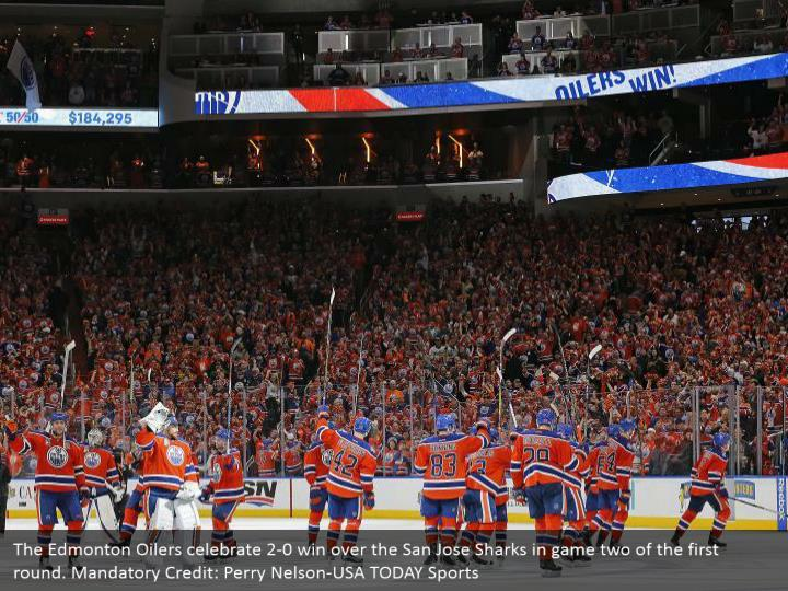 The Edmonton Oilers celebrate 2-0 win over the San Jose Sharks in game two of the first round. Mandatory Credit: Perry Nelson-USA TODAY Sports