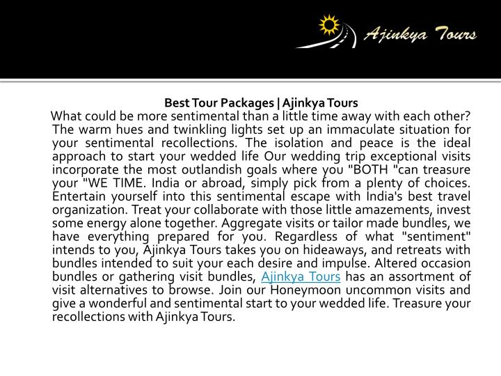 Best tour packages ajinkya tours what could