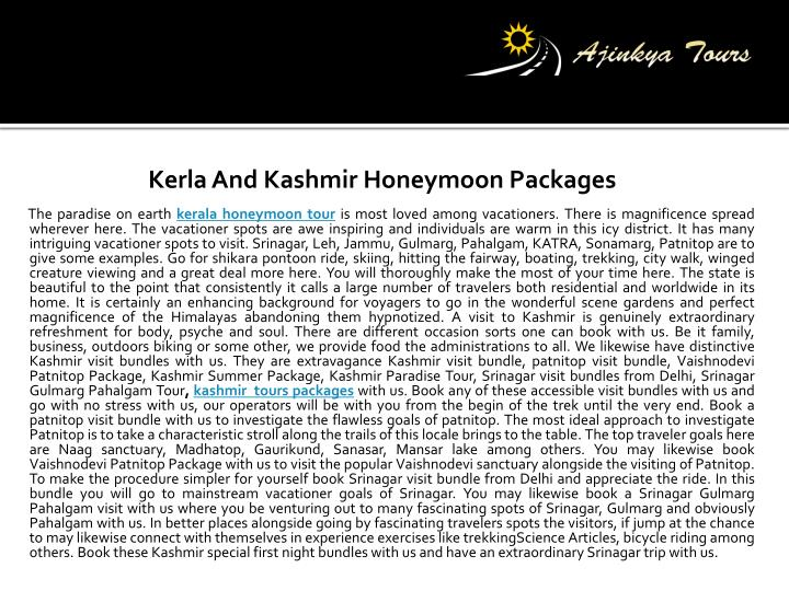 Kerla and kashmir honeymoon packages the paradise