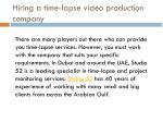 hiring a time lapse video production company
