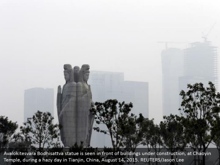 Avalokitesvara Bodhisattva statue is seen in front of buildings under construction, at Chaoyin Temple, during a hazy day in Tianjin, China, August 14, 2015. REUTERS/Jason Lee