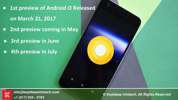 1st preview of Android O Released on March 21, 2017