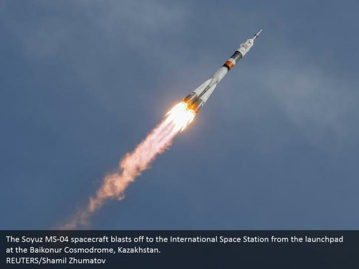 The Soyuz MS-04 spacecraft blasts off to the International Space Station from the launchpad at the Baikonur Cosmodrome, Kazakhstan. REUTERS/Shamil Zhumatov
