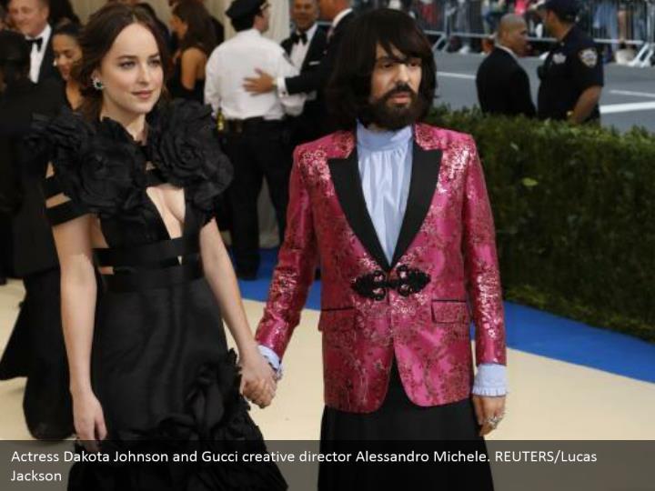 Actress Dakota Johnson and Gucci creative director Alessandro Michele. REUTERS/Lucas Jackson