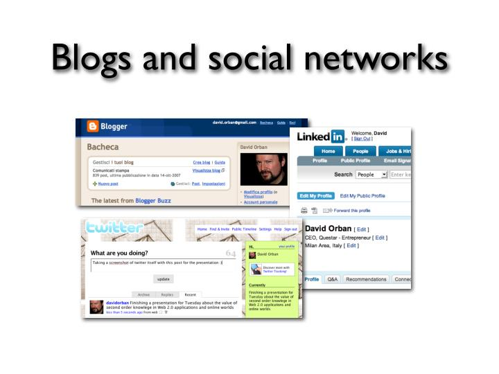 Blogs and social networks