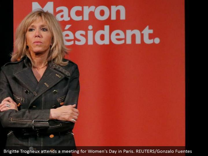 Brigitte Trogneux attends a meeting for Women's Day in Paris. REUTERS/Gonzalo Fuentes