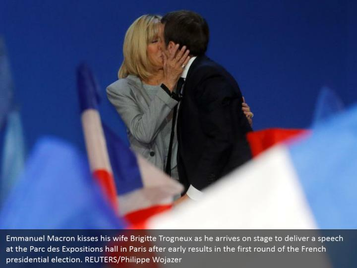 Emmanuel Macron kisses his wife Brigitte Trogneux as he arrives on stage to deliver a speech at the Parc des Expositions hall in Paris after early results in the first round of the French presidential election. REUTERS/Philippe Wojazer