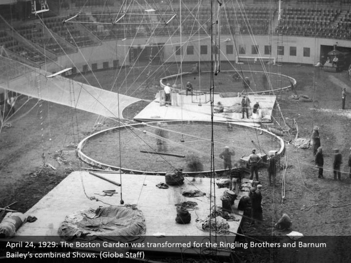 April 24, 1929: The Boston Garden was transformed for the Ringling Brothers and Barnum Bailey's combined Shows. (Globe Staff)