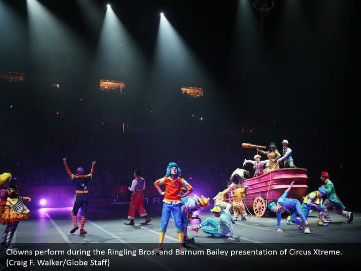 Clowns perform during the Ringling Bros. and Barnum Bailey presentation of Circus Xtreme. (Craig F. Walker/Globe Staff)