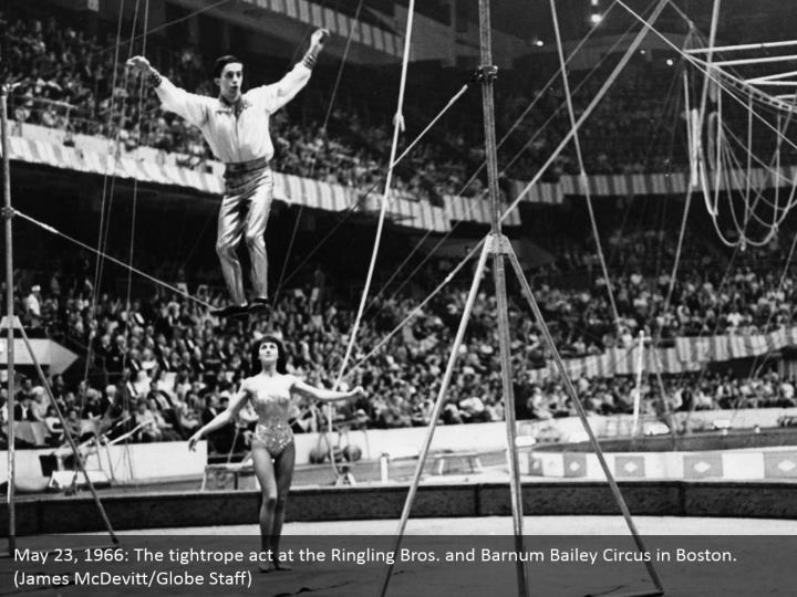 May 23, 1966: The tightrope act at the Ringling Bros. and Barnum Bailey Circus in Boston. (James McDevitt/Globe Staff)