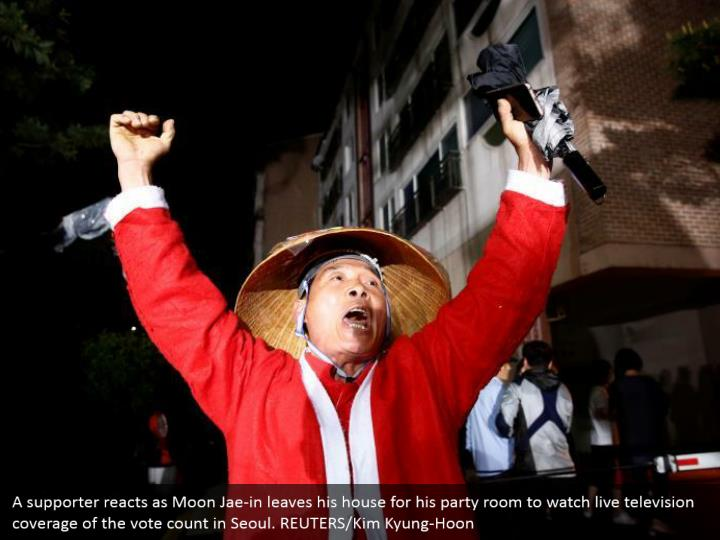 A supporter reacts as Moon Jae-in leaves his house for his party room to watch live television coverage of the vote count in Seoul. REUTERS/Kim Kyung-Hoon