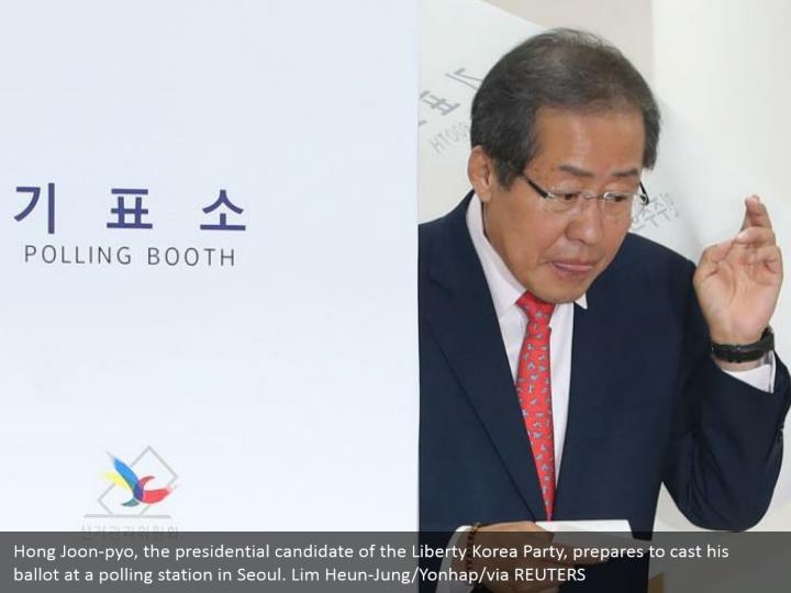 Hong Joon-pyo, the presidential candidate of the Liberty Korea Party, prepares to cast his ballot at a polling station in Seoul. Lim Heun-Jung/Yonhap/via REUTERS