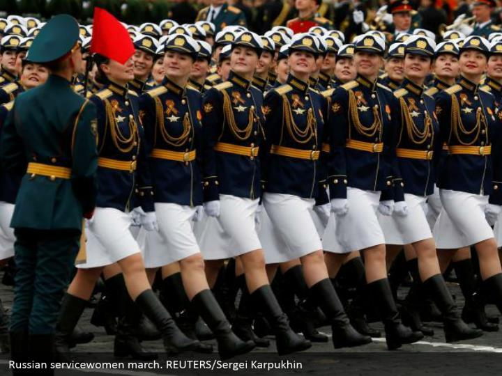 Russian servicewomen march. REUTERS/Sergei Karpukhin