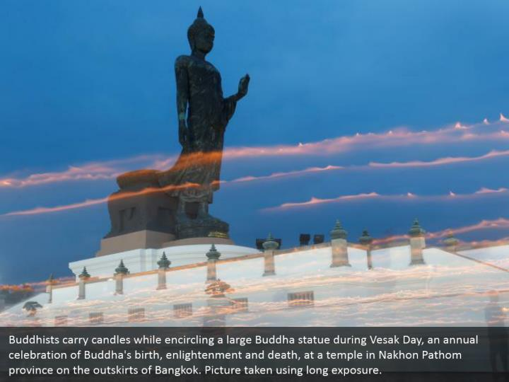 Buddhists carry candles while encircling a large