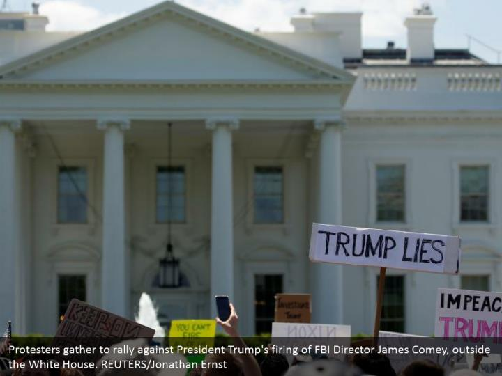 Protesters gather to rally against President Trump's firing of FBI Director James Comey, outside the White House. REUTERS/Jonathan Ernst