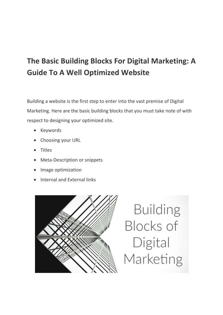 The Basic Building Blocks For Digital Marketing: A