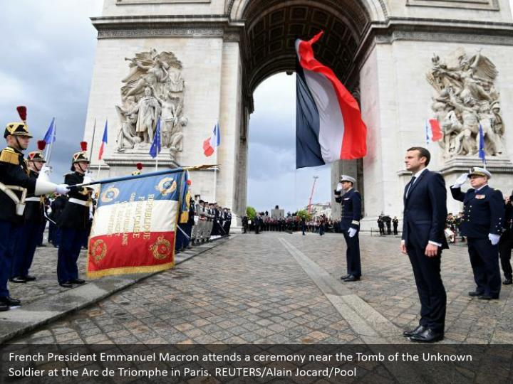 French President Emmanuel Macron attends a ceremony near the Tomb of the Unknown Soldier at the Arc de Triomphe in Paris. REUTERS/Alain Jocard/Pool