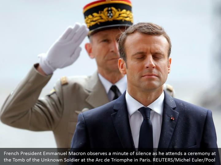 French President Emmanuel Macron observes a minute of silence as he attends a ceremony at the Tomb of the Unknown Soldier at the Arc de Triomphe in Paris. REUTERS/Michel Euler/Pool