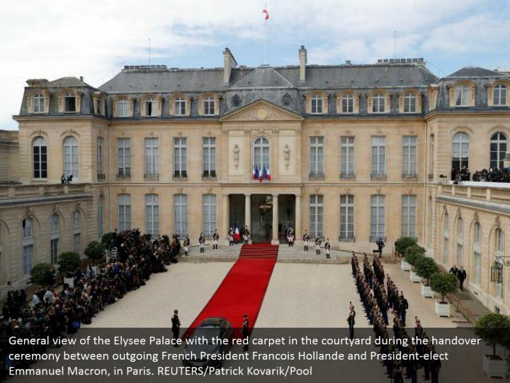 General view of the Elysee Palace with the red carpet in the courtyard during the handover ceremony between outgoing French President Francois Hollande and President-elect Emmanuel Macron, in Paris. REUTERS/Patrick Kovarik/Pool