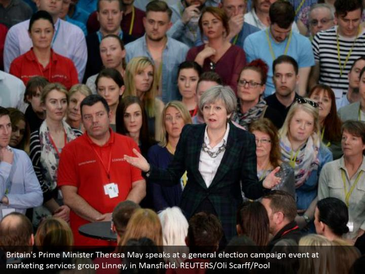 Britain's Prime Minister Theresa May speaks at a general election campaign event at marketing services group Linney, in Mansfield. REUTERS/Oli Scarff/Pool