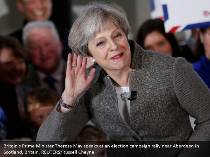 Britain's Prime Minister Theresa May speaks at an election campaign rally near Aberdeen in Scotland, Britain. REUTERS/Russell Cheyne