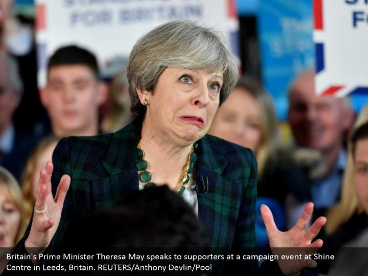 Britain's Prime Minister Theresa May speaks to supporters at a campaign event at Shine Centre in Leeds, Britain. REUTERS/Anthony Devlin/Pool