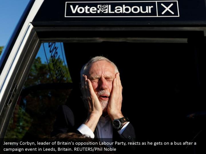 Jeremy Corbyn, leader of Britain's opposition Labour Party, reacts as he gets on a bus after a campaign event in Leeds, Britain. REUTERS/Phil Noble