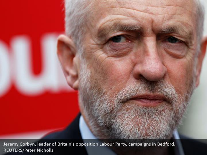 Jeremy Corbyn, leader of Britain's opposition Labour Party, campaigns in Bedford. REUTERS/Peter Nicholls