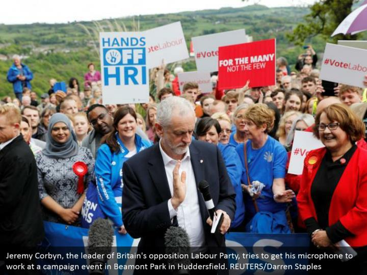 Jeremy Corbyn, the leader of Britain's opposition Labour Party, tries to get his microphone to work at a campaign event in Beamont Park in Huddersfield. REUTERS/Darren Staples