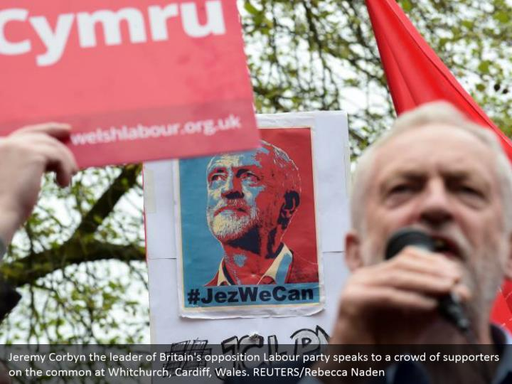 Jeremy Corbyn the leader of Britain's opposition Labour party speaks to a crowd of supporters on the common at Whitchurch, Cardiff, Wales. REUTERS/Rebecca Naden