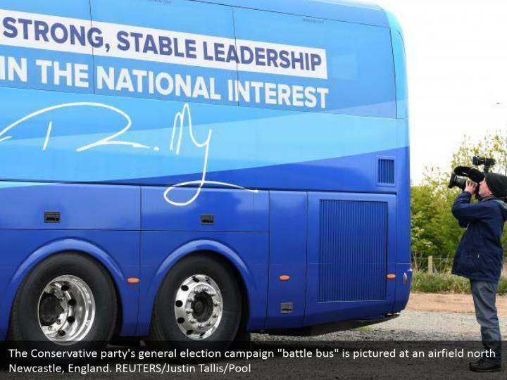 """The Conservative party's general election campaign """"battle bus"""" is pictured at an airfield north Newcastle, England. REUTERS/Justin Tallis/Pool"""