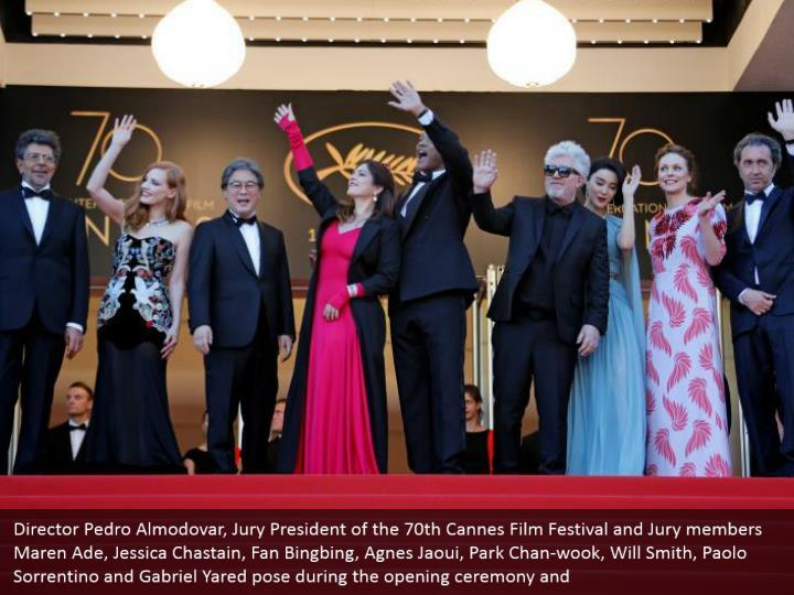 Director Pedro Almodovar, Jury President of the 70th Cannes Film Festival and Jury members Maren Ade, Jessica Chastain, Fan Bingbing, Agnes Jaoui, Park Chan-wook, Will Smith, Paolo Sorrentino and Gabriel Yared pose during the opening ceremony and