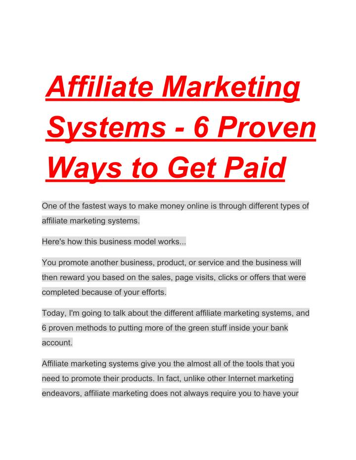 Affiliate marketing systems 6 proven ways