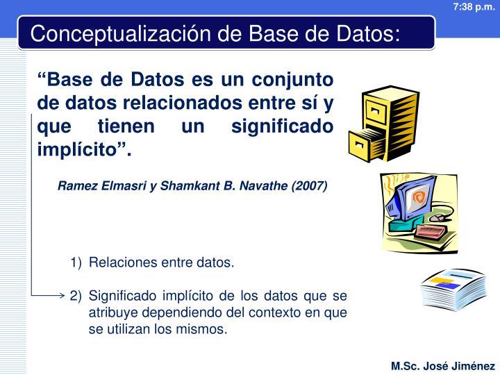 Conceptualización de Base de Datos: