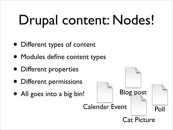 Drupal content: Nodes!