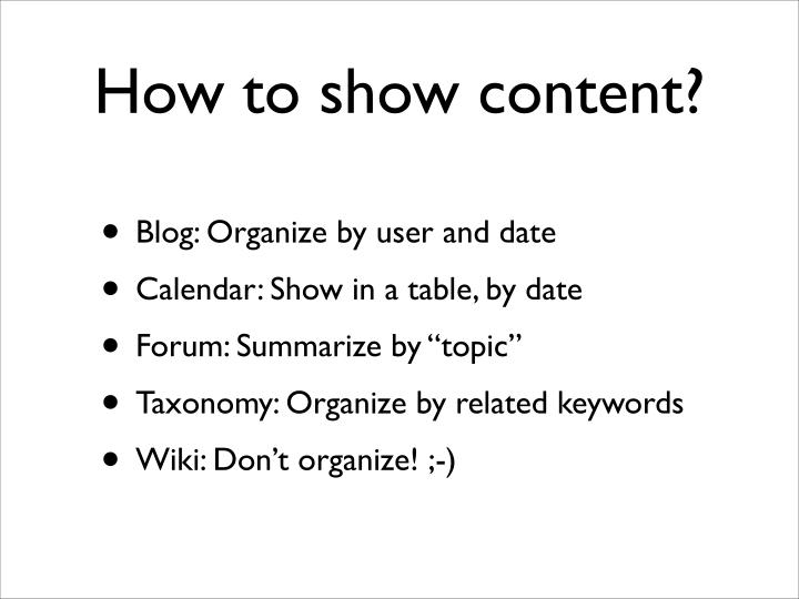 How to show content?