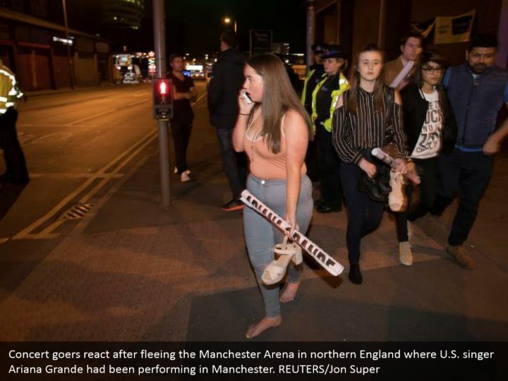 Concert goers react after fleeing the Manchester Arena in northern England where U.S. singer Ariana Grande had been performing in Manchester. REUTERS/Jon Super