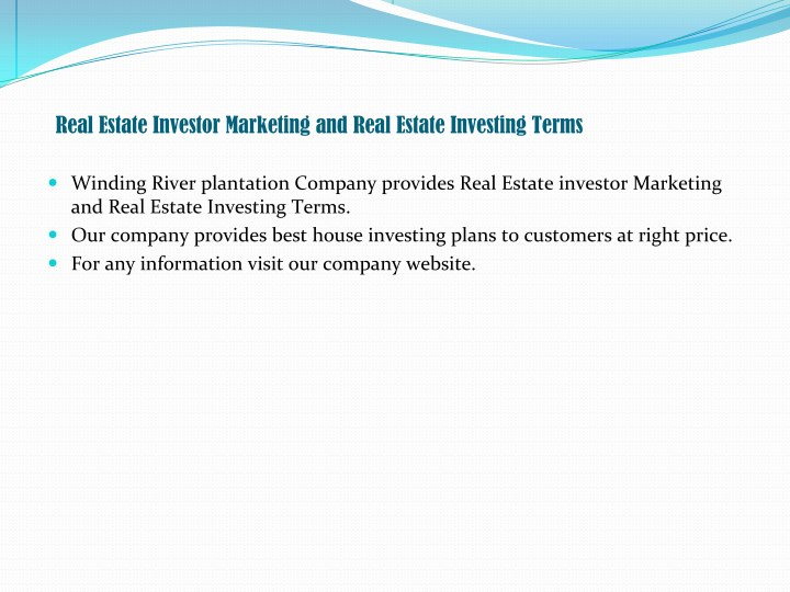Real Estate Investor Marketing and Real Estate Investing Terms