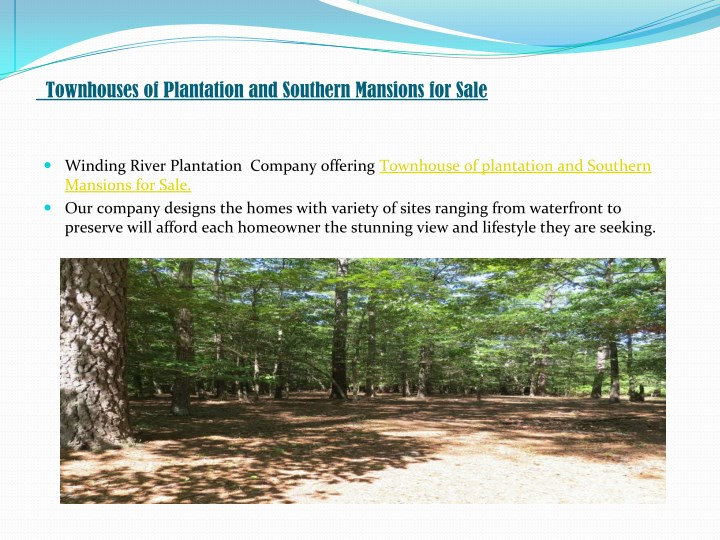Townhouses of Plantation and Southern Mansions for Sale