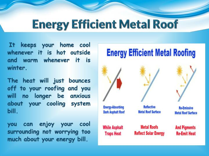 Ppt aesthetic metal roof metal roof company powerpoint for Energy efficient roofing material