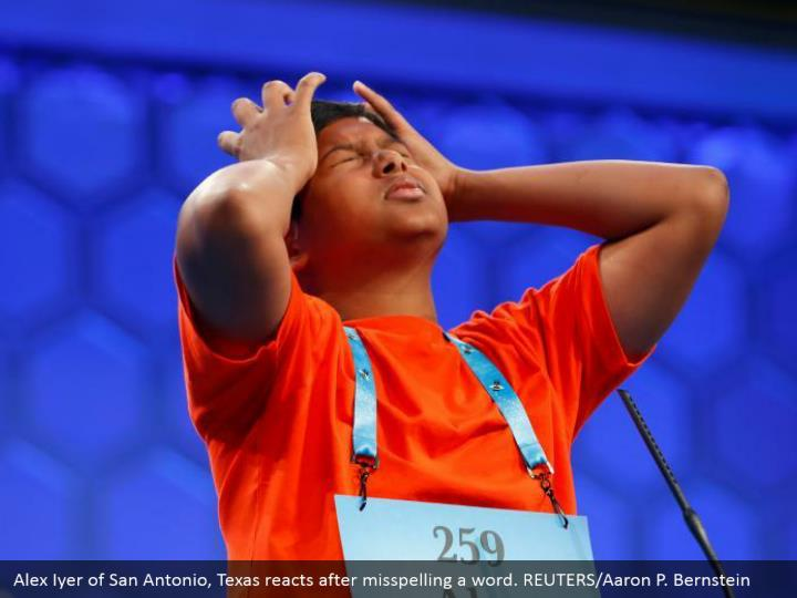 Alex Iyer of San Antonio, Texas reacts after misspelling a word. REUTERS/Aaron P. Bernstein