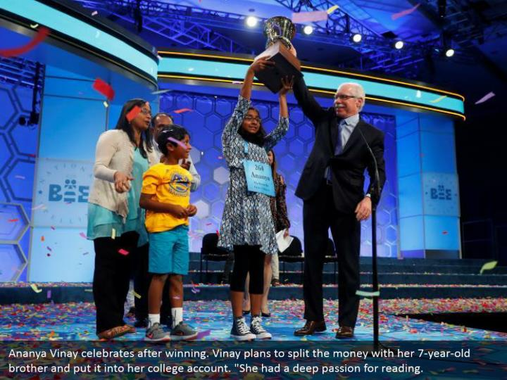 """Ananya Vinay celebrates after winning. Vinay plans to split the money with her 7-year-old brother and put it into her college account. """"She had a deep passion for reading."""