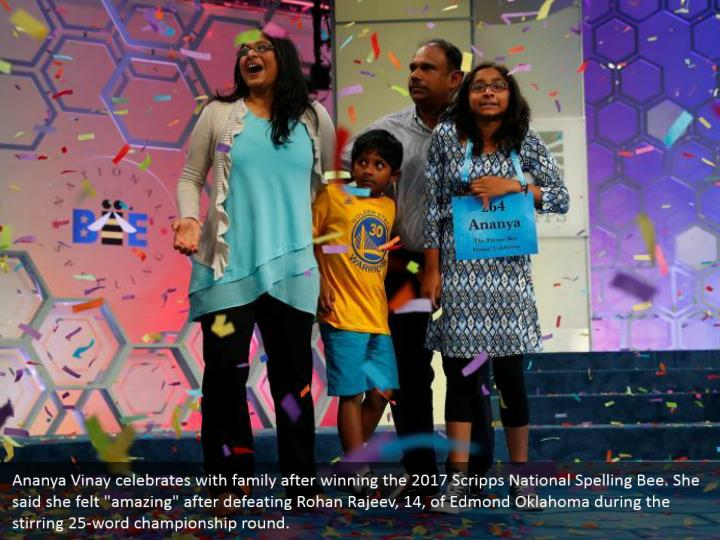 """Ananya Vinay celebrates with family after winning the 2017 Scripps National Spelling Bee. She said she felt """"amazing"""" after defeating Rohan Rajeev, 14, of Edmond Oklahoma during the stirring 25-word championship round."""