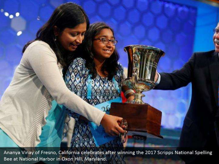 Ananya Vinay of Fresno, California celebrates after winning the 2017 Scripps National Spelling Bee at National Harbor in Oxon Hill, Maryland.