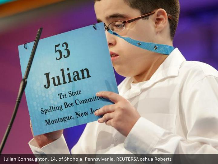 Julian Connaughton, 14, of Shohola, Pennsylvania. REUTERS/Joshua Roberts