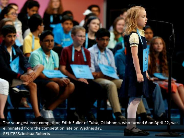 The youngest-ever competitor, Edith Fuller of Tulsa, Oklahoma, who turned 6 on April 22, was eliminated from the competition late on Wednesday. REUTERS/Joshua Roberts