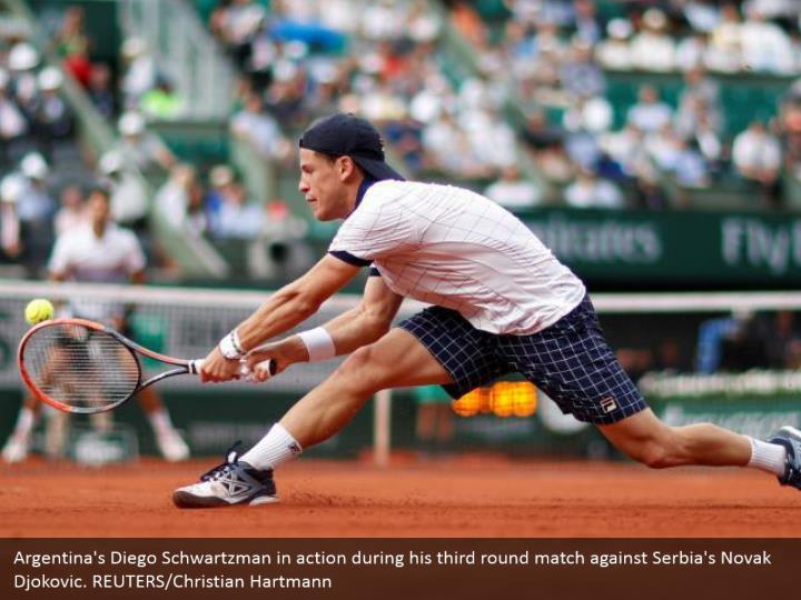 Argentina's Diego Schwartzman in action during his third round match against Serbia's Novak Djokovic. REUTERS/Christian Hartmann