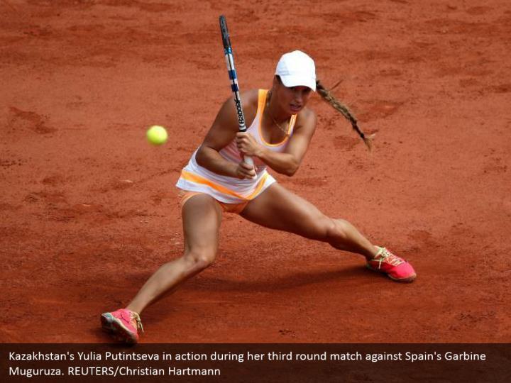 Kazakhstan's Yulia Putintseva in action during her third round match against Spain's Garbine Muguruza. REUTERS/Christian Hartmann