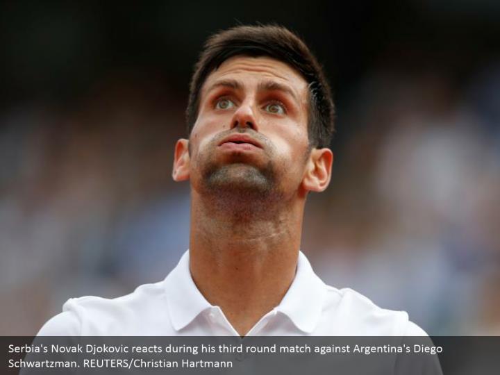 Serbia's Novak Djokovic reacts during his third round match against Argentina's Diego Schwartzman. REUTERS/Christian Hartmann